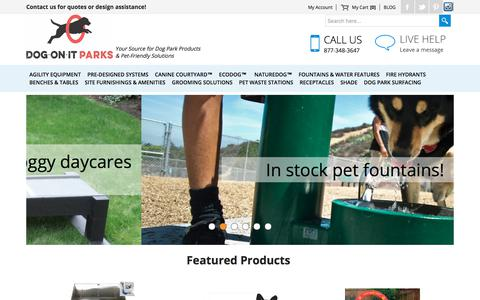 Screenshot of Home Page dog-on-it-parks.com - Dog-ON-It-Parks: Dog Park Equipment, Dog Park Design and Pet-Friendly Solutions - captured Aug. 7, 2018