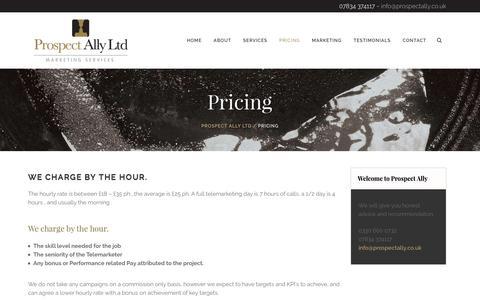Screenshot of Pricing Page prospectally.co.uk - Pricing - Prospect Ally Ltd - captured Nov. 14, 2016