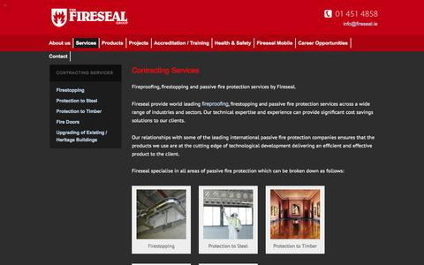 Screenshot of Services Page fireseal.ie - Fireproofing | Firestopping | Passive Fire Protection | Fireseal.ie - captured Sept. 30, 2014