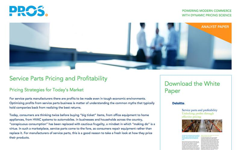 Service Parts Pricing & Profitability | PROS Resources | PROS