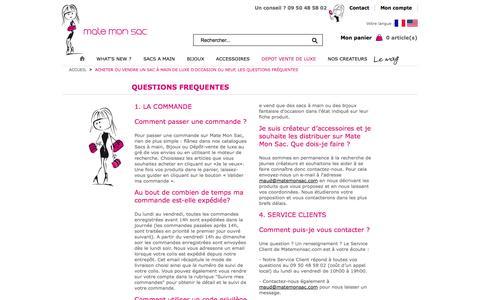 Screenshot of FAQ Page matemonsac.com - Acheter ou vendre un sac à main de luxe d'occasion ou neuf, les questions fréquentes - captured Oct. 29, 2014