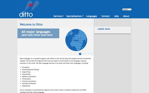 Screenshot of Home Page ditto-languages.co.uk - Welcome to Ditto - Ditto Languages - captured Sept. 30, 2014
