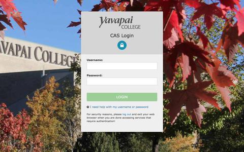 Screenshot of Login Page yc.edu - Login - CAS – Central Authentication Service - captured Oct. 6, 2017