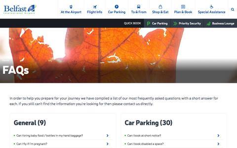 Screenshot of FAQ Page belfastairport.com - FAQs | Belfast International Airport - captured Nov. 14, 2015