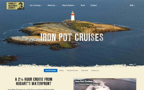 Screenshot of Home Page ironpotcruises.com.au - Iron Pot Cruises - Pennicott Wilderness Journeys - captured Sept. 20, 2015