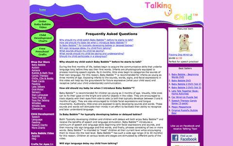 Screenshot of FAQ Page talkingchild.com - faq - captured Feb. 23, 2016