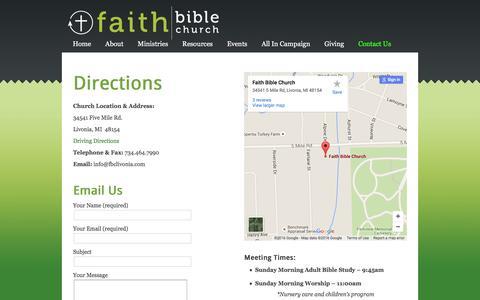 Screenshot of Contact Page fbclivonia.com - Contact Us - Faith Bible Church - Livonia, MI - captured Feb. 9, 2016