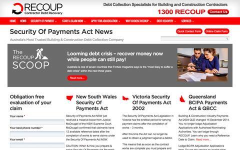 Screenshot of Press Page recoup.com.au - Security Of Payments Act News - Security Of Payments Act Specialists - captured Dec. 1, 2016