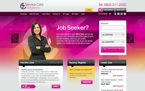 Screenshot of Home Page servicecare.org.uk - Service Care Solutions | Recruitment agency specialising in social work and substance misuse vacancies - captured Oct. 7, 2014