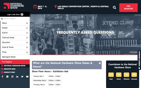 Screenshot of FAQ Page nationalhardwareshow.com - Frequently Asked Questions - NationalHardwareShow - captured Sept. 21, 2018