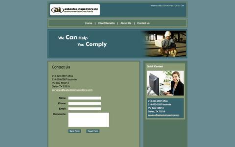 Screenshot of Contact Page asbestosinspectors.com - Low Cost Asbestos Inspection Dallas - Asbestos Inspectors Inc - captured Oct. 4, 2014