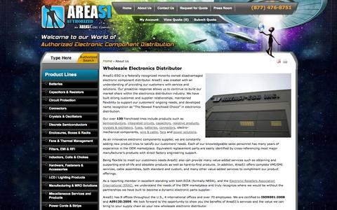 Screenshot of About Page area51esg.com - Wholesale Electronics Parts Supply & Distributor Leaders  - Area51 - ESG - captured Sept. 19, 2014