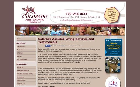 Screenshot of Testimonials Page coloradoassistedliving.com - Colorado Assisted Living Reviews and Testimonials - captured Oct. 3, 2014