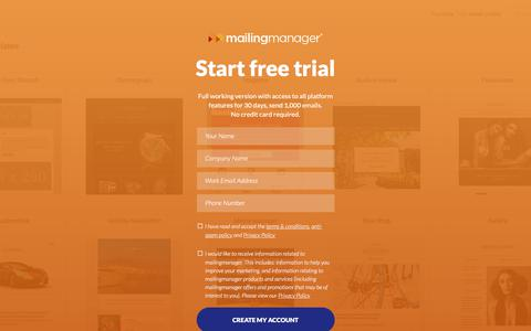 Screenshot of Trial Page mailingmanager.co.uk - mailingmanager: Email Campaign Free Trial - Create Free Account - captured July 27, 2018