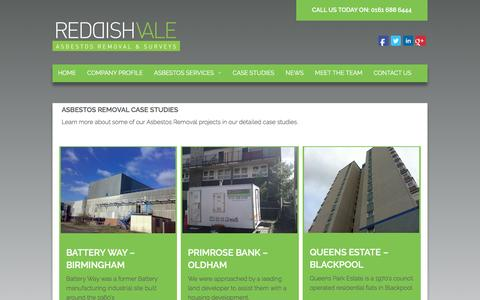 Screenshot of Case Studies Page reddishvale.co.uk - Asbestos Removal Surveys Manchester Liverpool North West Reddish Vale | Reddish Vale - captured Feb. 18, 2016