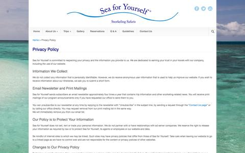 Screenshot of Privacy Page seaforyourself.com - Privacy Policy - Sea for Yourself - Snorkeling Safaris - captured Oct. 27, 2014