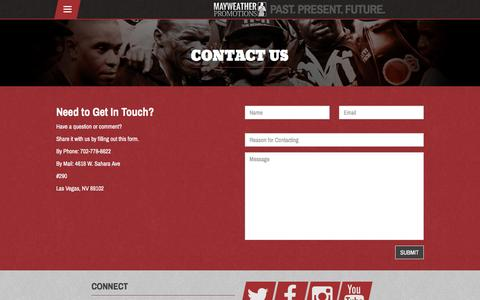 Screenshot of Contact Page mayweatherpromotions.com - Contact Us – Mayweather Promotions - captured Aug. 10, 2016