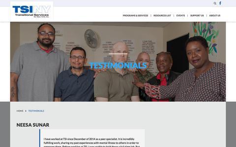 Screenshot of Testimonials Page tsiny.org - Transitional Services for New York Inc.Testimonials - Transitional Services for New York Inc. - captured Oct. 27, 2017