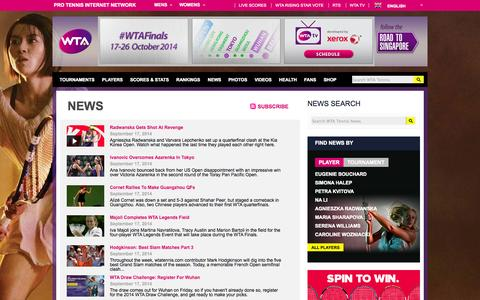 Screenshot of Press Page wtatennis.com - News | WTA Tennis English - captured Sept. 18, 2014