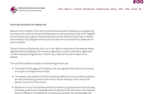Screenshot of Terms Page diamondelec.co.uk - Terms and Conditions ÂŤ Diamond Electronics - captured Feb. 9, 2016