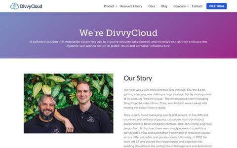 Screenshot of About Page divvycloud.com - About Us - DivvyCloud - captured Feb. 16, 2019
