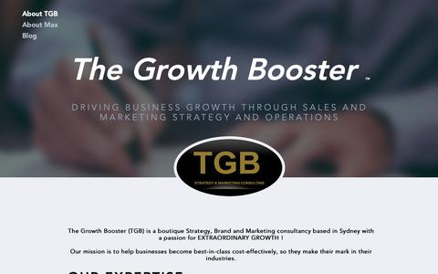 Screenshot of Home Page thegrowthbooster.com - Strategy & Marketing Consultant Sydney - The Growth Booster - captured Dec. 16, 2018