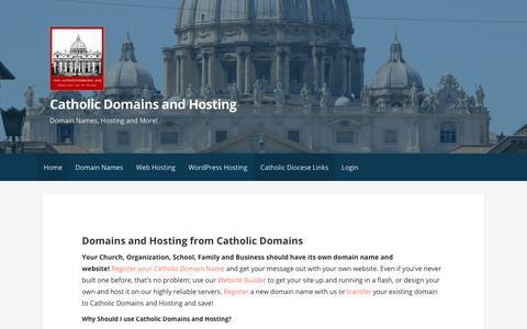 Screenshot of Home Page catholicdomains.org - Catholic Domains and Hosting - Catholic Domain Names and Hosting - captured July 17, 2017