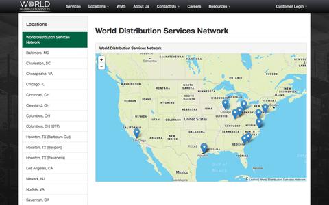 Screenshot of Locations Page cpgds.com - World Distribution Services - Services Network - captured Oct. 10, 2016