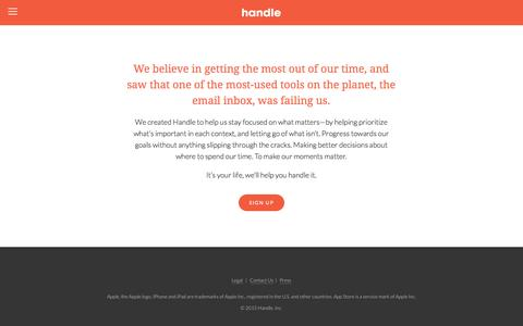 Screenshot of About Page handle.com - About — Handle: To-dos + email + calendar = focus - captured June 16, 2015