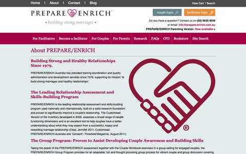 Screenshot of About Page prepare-enrich.com.au - About PREPARE/ENRICH - Prepare-Enrich Australia - The leading relationship inventory and skill-building program - captured Sept. 25, 2018