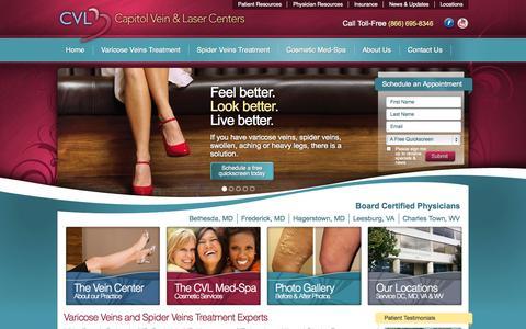 Screenshot of Home Page mycvl.com - Varicose Vein and Spider Vein Procedures | Capitol Vein & Laser Centers - captured Sept. 19, 2014