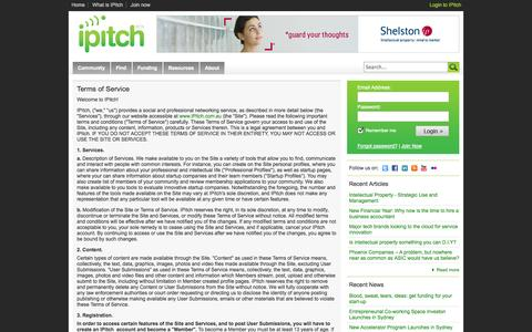 Screenshot of Terms Page ipitch.com.au - IPitch - Terms of Service - captured Sept. 19, 2014