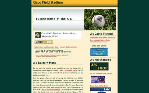 Screenshot of Home Page ciscofieldstadium.com - Cisco Field Stadium : Future Home of the Oakland A's in San Jose? - captured Oct. 11, 2015