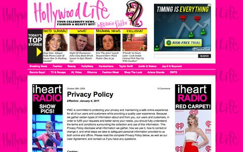 Screenshot of Privacy Page hollywoodlife.com - Privacy Policy   - Hollywood Life - captured Sept. 19, 2014
