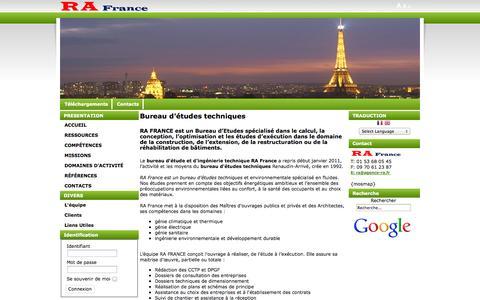 Screenshot of Home Page agence-ra.fr - RA FRANCE - Bureau d'études techniques, maître d'oeuvre, ingénierie - captured Oct. 6, 2014