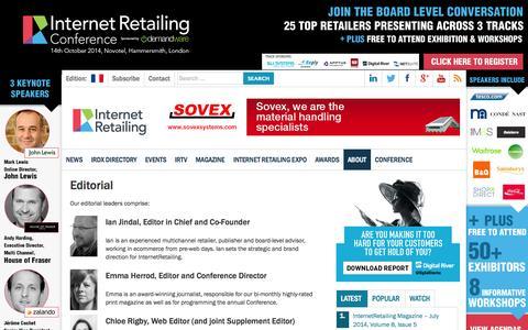 Screenshot of Team Page internetretailing.net - Editorial   Internet Retailing - captured Sept. 25, 2014