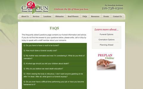 Screenshot of FAQ Page calhounfuneral.com - FAQs | Calhoun Funeral Home & Cremation Service - captured Nov. 1, 2014