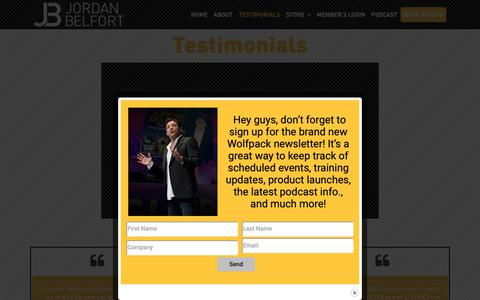 Screenshot of Testimonials Page jordanbelfort.com - Testimonials - Jordan Belfort | The Wolf of Wall Street - captured June 20, 2019