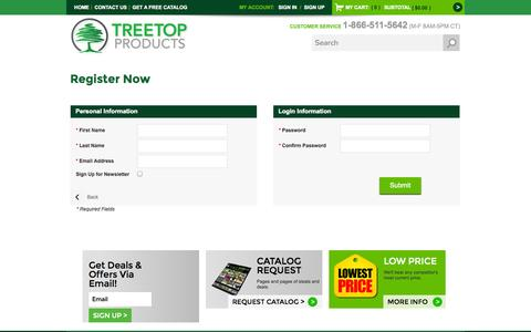 Screenshot of Signup Page treetopproducts.com - Create New Customer Account - captured Oct. 9, 2014