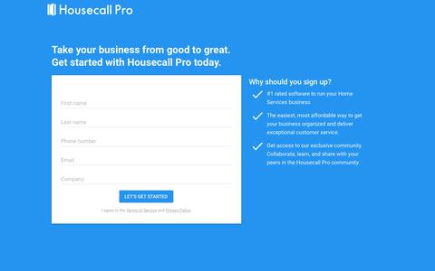 Screenshot of Signup Page housecallpro.com - Housecall Pro - Book a demo now - captured April 9, 2018