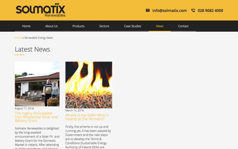 Screenshot of Press Page solmatix.com - Renewable Energy News - Solmatix - captured Sept. 25, 2018