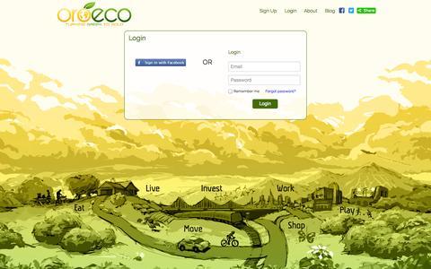 Screenshot of Login Page oroeco.com - Oroeco | Login - captured Sept. 17, 2014