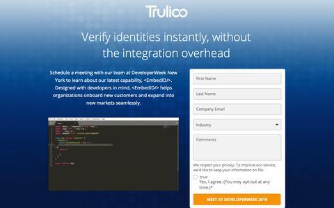 Screenshot of Landing Page trulioo.com - Let's Meet at DeveloperWeek New York 2019 - captured June 10, 2019