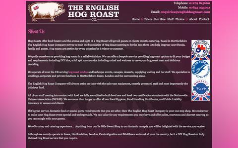 Screenshot of About Page theenglishhogroastcompany.co.uk - About Us | English Hog Roast Company - captured Sept. 20, 2018