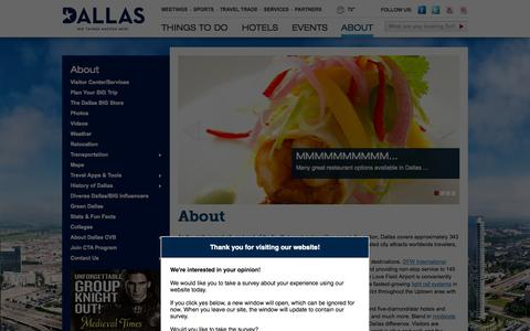 Screenshot of About Page visitdallas.com - About Dallas, Texas   Stats, Facts & Visitor Information - captured Sept. 22, 2014