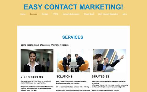 Screenshot of Services Page easycontactz.com - marketing | Services - captured Dec. 2, 2016