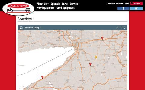 Screenshot of Locations Page javafarmsupply.com - Locations - captured Feb. 11, 2016