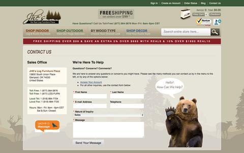 Screenshot of Contact Page logfurnitureplace.com - Contact Us - captured Sept. 22, 2014