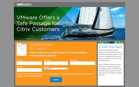 Screenshot of Landing Page vmware.com - VMware - Safe Passage for Citrix Customers - captured Oct. 21, 2015