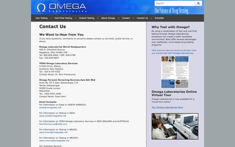 Screenshot of Contact Page omegalabs.net - Employer Drug Testing Omega Contact Us - Omega Laboratories - captured Dec. 2, 2016